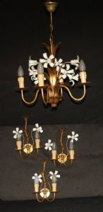 VINTAGE FRENCH  GOLDEN TOLEWARE CHANDELIER & MATCHING WALL LIGHTS  Ref: AJL10